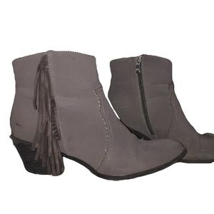 Bucco Maryana grey faux fur lined fringe booties